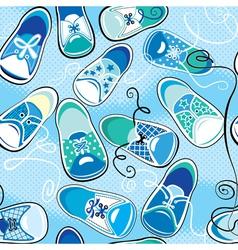 Seamless pattern - children gumshoes on blue backg vector