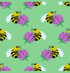 seamless pattern with bees on flowers vector image