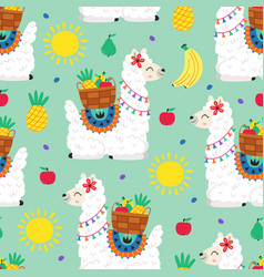 seamless pattern with llama and fruits vector image