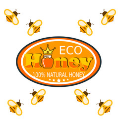 set bee logo labels for honey products organic vector image