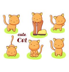 Set cute kawaii hand drawn cat doodles isolated vector