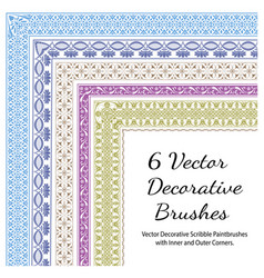 set decorative color brushes vector image