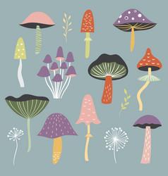 Set mushrooms vector
