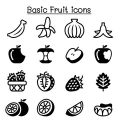strawberry apple orange banana fruit icon set vector image