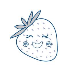 Strawberry sweet fruit kawaii cute cartoon vector