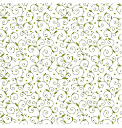 Texture with curls and leaves vector