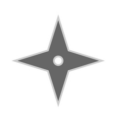 Throwing star ninja shuriken flat icon kill fun vector