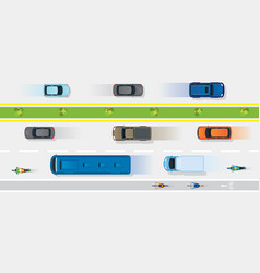 vehicles on road with bike lane vector image