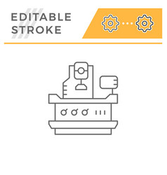vertical milling machine line icon vector image