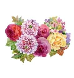 Watercolor autumn garden blooming flowers vector image