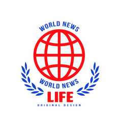 World news life original design logo social mass vector