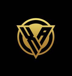 Xa logo monogram with triangle shape and circle vector