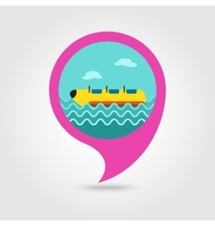 Yellow banana boat ride pin map icon Vacation vector