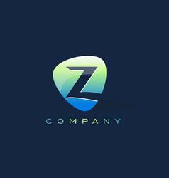 z letter logo oval shape modern design vector image