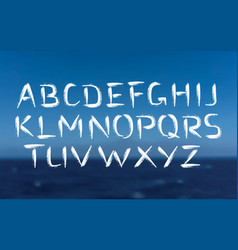 brush font bold letters on sea background vector image vector image