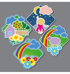 Emblems with the cheerful drawings vector image