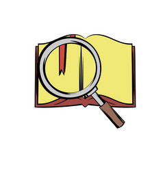 open book with loupe icon cartoon vector image
