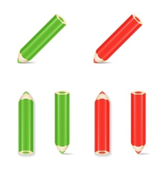 Pencil Icon Set Green Red vector image vector image