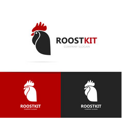 rooster and cock logo combination vector image