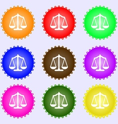 Scales balance A set of nine different colored vector image vector image