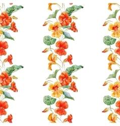 Watercolor nasturtium flower pattern vector image