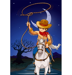 A cowboy holding a rope while riding a horse vector image vector image