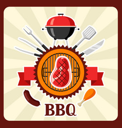 bbq card with grill objects and icons vector image