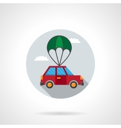 Car with parachute flat icon vector image vector image