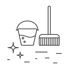 Cleaning tools bucket and mop line icons vector image vector image