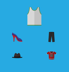 Flat icon dress set of pants t-shirt singlet and vector