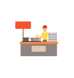 flat street food kiosk vector image vector image