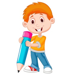 Little boy cartoon with pencil vector image vector image