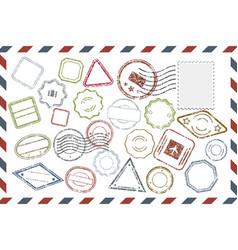 postal stamps set on envelope vector image vector image