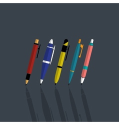 set colorfull pens vector image
