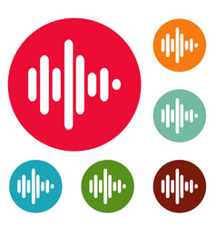 sound wave icons circle set vector image vector image