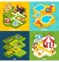 Amusement park isometric 4 icons square vector