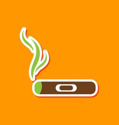 Paper sticker on stylish background cuba cigar vector