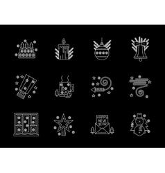 White line X-mas icons set vector image vector image