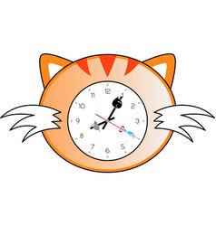 cat clock vector image