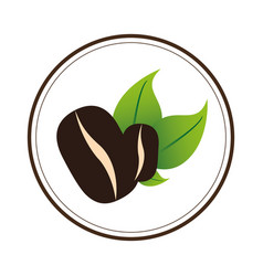 color circular emblem with coffee beans vector image