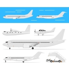 Commercial airplane and private jets vector image vector image