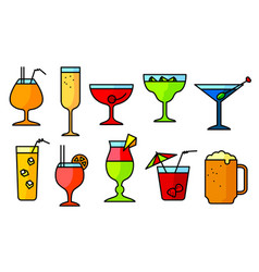 icon set with alcohol cocktails thin simple line vector image vector image