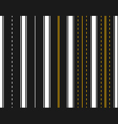 set of roads with various white and yellow vector image vector image