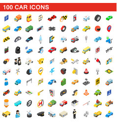 100 car icons set isometric 3d style vector image