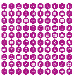 100 doctor icons hexagon violet vector image