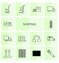 14 shipping icons vector image