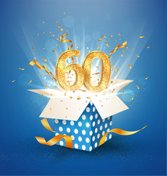 60 th years anniversary and open gift box with vector