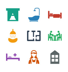 9 room icons vector