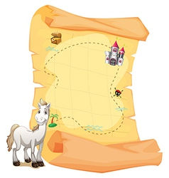 A white horse and a treasure map vector image