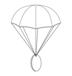 Airdrop concept parachute with coin outline vector